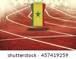 red running track with lines... | Shutterstock . vector #457419259