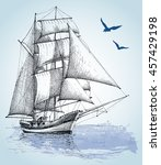 boat drawing. sailboat vector... | Shutterstock .eps vector #457429198