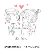 cute girl and boy in cafe.... | Shutterstock .eps vector #457430548