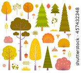 set of flat vector autumn... | Shutterstock .eps vector #457432348