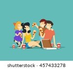 happy family eating pizza.... | Shutterstock .eps vector #457433278