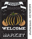 poster with a pumpkin on a... | Shutterstock .eps vector #457439599