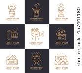cinema linear icons set. vector ... | Shutterstock .eps vector #457441180