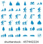 set of hiking tourists icon.... | Shutterstock .eps vector #457442224