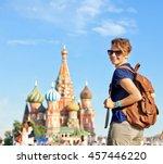young attractive woman traveler ...   Shutterstock . vector #457446220