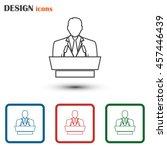 line icon  speaker icon. orator ... | Shutterstock .eps vector #457446439