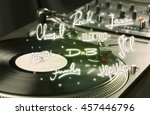 turntable with vinyl and music... | Shutterstock . vector #457446796