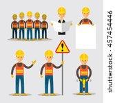 construction worker people set  ... | Shutterstock .eps vector #457454446