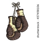 boxing gloves. black color.... | Shutterstock .eps vector #457458106