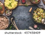 delicious dish with  stewed... | Shutterstock . vector #457458409
