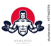 illustration muscular man with... | Shutterstock .eps vector #457460554
