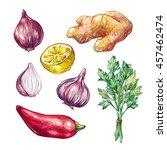 set of hand drawn watercolor... | Shutterstock . vector #457462474