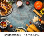 roasted whole chicken or turkey ... | Shutterstock . vector #457464343