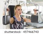 people using pectoral machine... | Shutterstock . vector #457466743