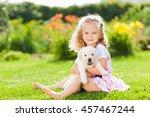 little girl with a labrador... | Shutterstock . vector #457467244