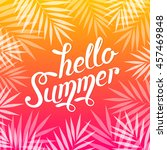 hello summer pink and orange... | Shutterstock .eps vector #457469848
