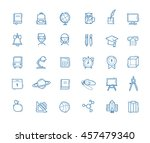 school icons. education outline ... | Shutterstock .eps vector #457479340