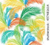 leaves of palm tree. seamless... | Shutterstock .eps vector #457481614