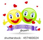 funny creatures with smiling... | Shutterstock .eps vector #457483024