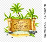 summer travel banner with old... | Shutterstock .eps vector #457483678