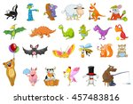 set of cute colourful animals.... | Shutterstock .eps vector #457483816
