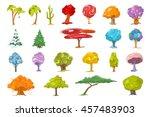 set of various cute trees....