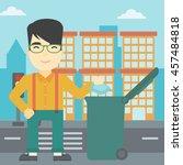 an asian young man throwing... | Shutterstock .eps vector #457484818
