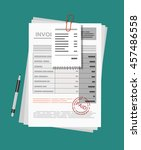 invoice sheet  bill and pen.... | Shutterstock .eps vector #457486558