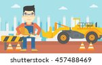 an asian engineer with a... | Shutterstock .eps vector #457488469
