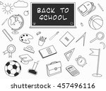 back to school lineart set.... | Shutterstock .eps vector #457496116
