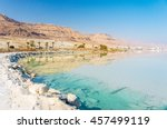 Dead Sea Coastline With White...
