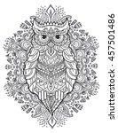 ornament owl vector. beautiful... | Shutterstock .eps vector #457501486