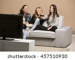 girls watching movies with... | Shutterstock . vector #457510930