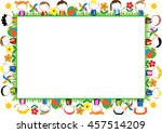 colored frame for children with ... | Shutterstock .eps vector #457514209