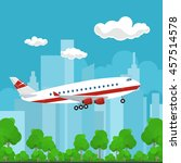 airplane on the background of... | Shutterstock .eps vector #457514578
