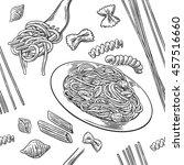 seamless pattern set pasta.... | Shutterstock .eps vector #457516660