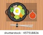 bibimbap  bi bim bap or so... | Shutterstock .eps vector #457518826