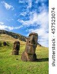 Moai Statues In The Rano Rarak...