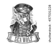 sea wolf with pipe and ribbon.... | Shutterstock .eps vector #457531228