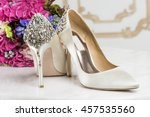 bride's shoes adorned with... | Shutterstock . vector #457535560