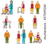 elderly people in different... | Shutterstock .eps vector #457549240