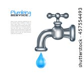 water faucet with blue glossy...   Shutterstock .eps vector #457554493
