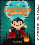 vintage halloween poster design ... | Shutterstock .eps vector #457560220