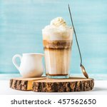 latte macchiato with whipped... | Shutterstock . vector #457562650