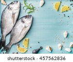 fresh raw sea bream fish... | Shutterstock . vector #457562836