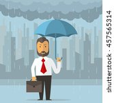 businessman holding an umbrella.... | Shutterstock .eps vector #457565314