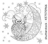 Cute Owl On Christmas Half Moon ...