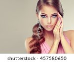 beautiful model girl with... | Shutterstock . vector #457580650