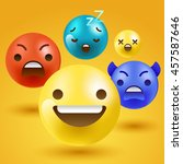 3d smiley emoticon   vector... | Shutterstock .eps vector #457587646