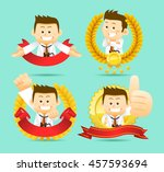 vector set of cartoon doctor... | Shutterstock .eps vector #457593694